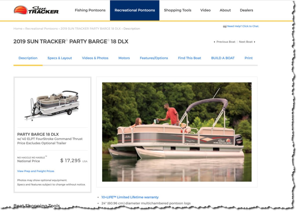 Sun Tracker Pontoon Boat