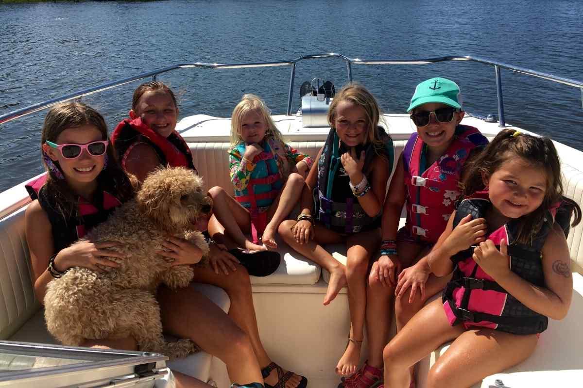 Kids on a 25 foot Power Catamaran